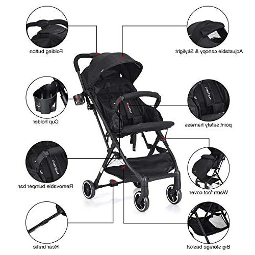 BABY Stroller, Pram Baby Lightweight Reclining Seat, Cover, Compartment