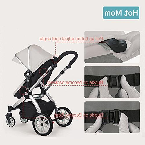 Infant Carriage,Hot Mom in 1 pram seat with Bassinet,Grey