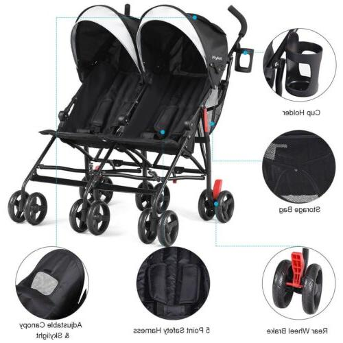 Twin Stroller Ultralight Foldable Multicolor Outdoor
