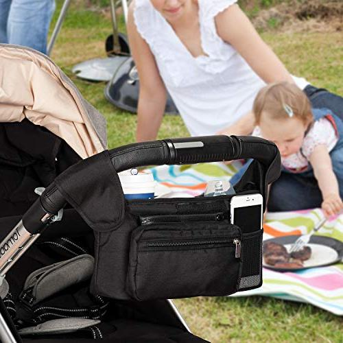 Universal Stroller Insulated Cup Momcozy Phone Bag & Fits for like Uppababy, Jogger, Bugaboo, BOB, Pet Stroller