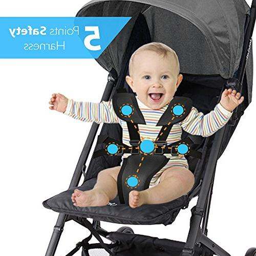 Upgraded Portable Travel Stroller - Hand Foldable Adjustable Reclining Seat, Smallest Stroller to in Small Cars The