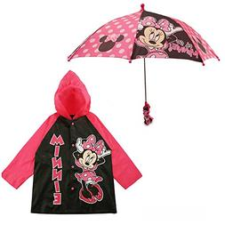 Disney Little Girls Frozen or Minnie Mouse Slicker and Umbre
