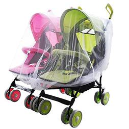 Aligle Twin stroller nets Baby Mosquito Mesh Tandem Stroller