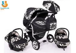 Baby Twin Duet Pram Buggy Double pushchair 3 in 1  Travel sy