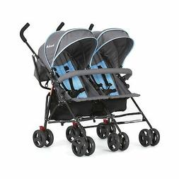 Dream On Me Volgo Twin Umbrella Stroller, Blue/Dark Grey